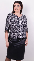 Мегги. Праздничный костюм для женщин больших размеров. Леопард серый.