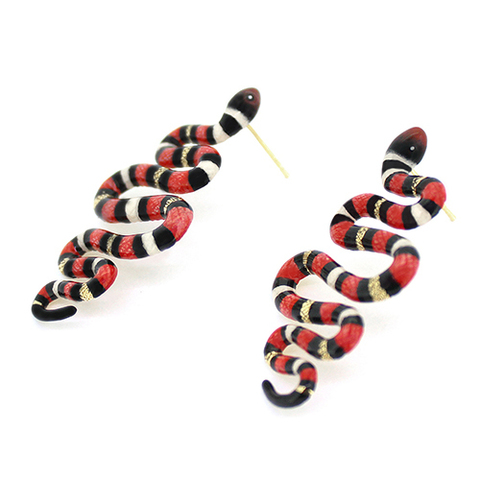 Серьги Змея красная