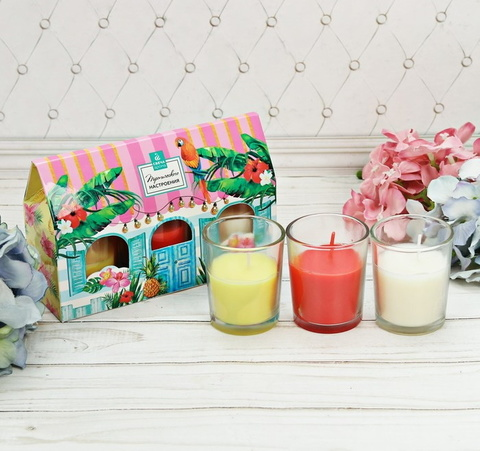Набор свечи стаканы в коробке домик