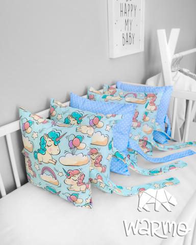 Набір бортиків-подушок в ліжечко 30x30см ГОЛУБІ ЄДИНОРОГИ