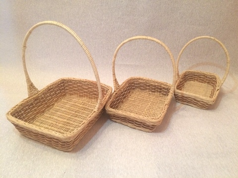 Набор плетёных корзин 4 шт. (ротанг), 29х23хH29 см, цвет: натуральный