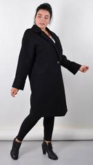 Черника. Стильное пальто плюс сайз. Черный.