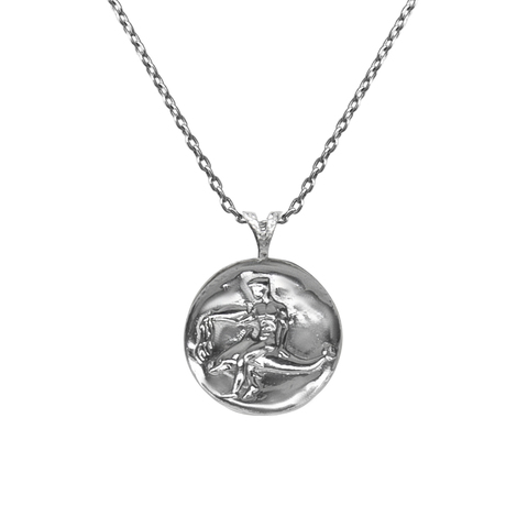 Pendant, Zodiac sign Aquarius on a chain, sterling  silver