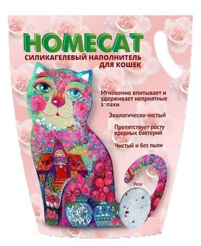 HOMECAT Роза силикагелевый наполнитель для кошачьих туалетов с ароматом розы 7,6л