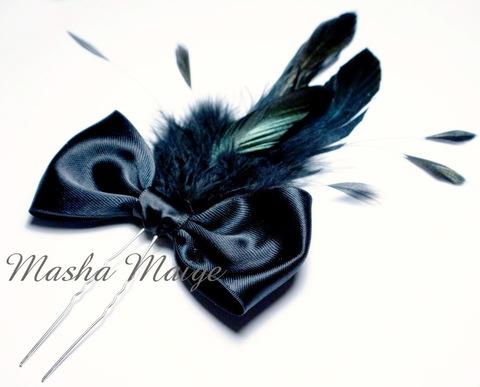 Шпилька для волос 65 мм (цвет - серебро), 5 штук (Шпилька с перьями. Пример)