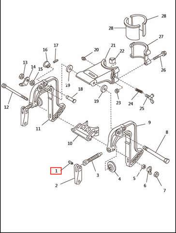 Штифт ручки зажима струбцины для лодочного мотора T2,5 SEA-PRO (6-1)