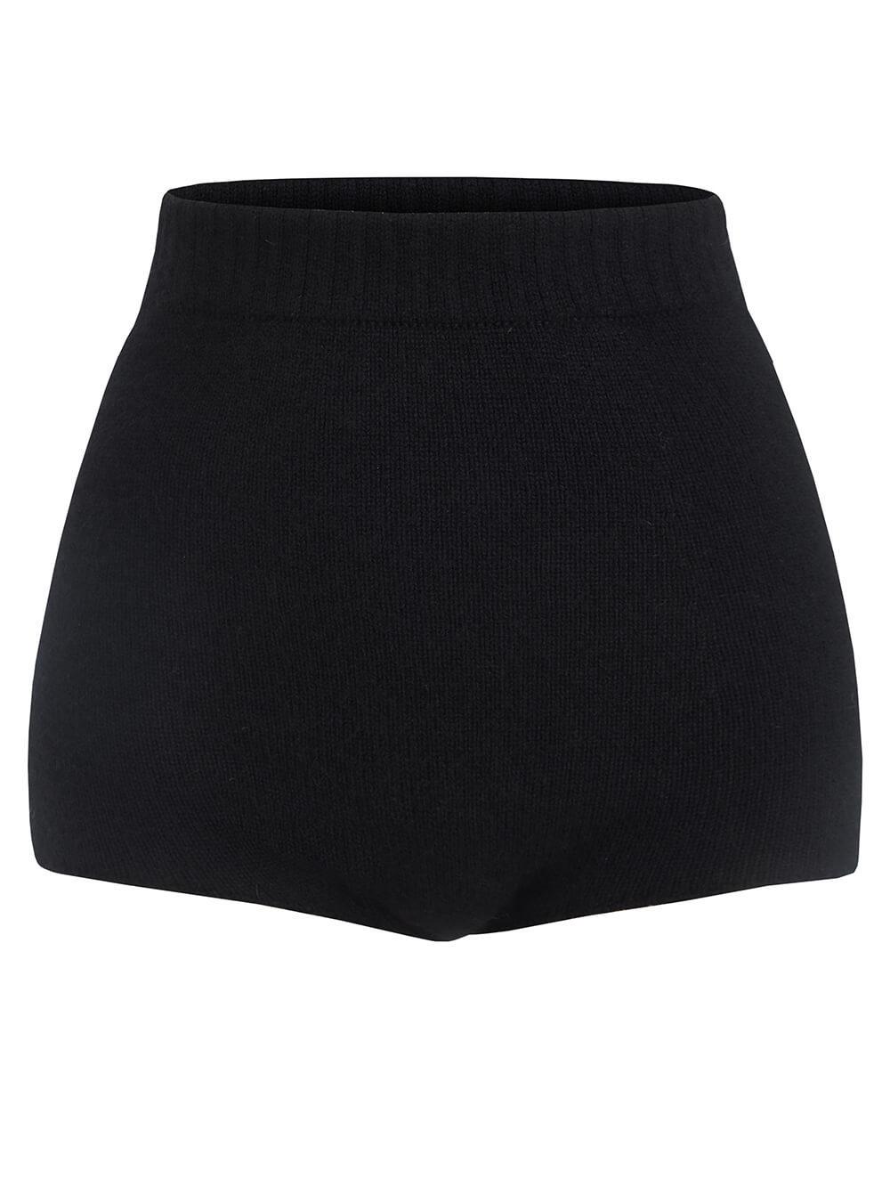 Женские шорты черного цвета из 100% кашемира - фото 1