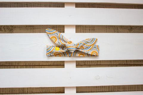 Повязка на голову (солоха) бежевая с жёлтым