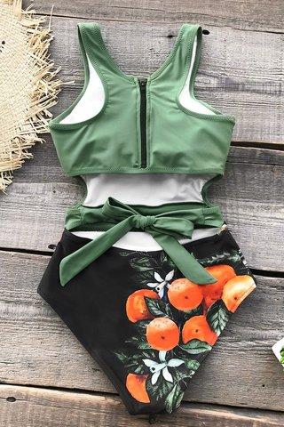 Купальник слитный оливковый зеленый черный с мандаринами закрытый 3