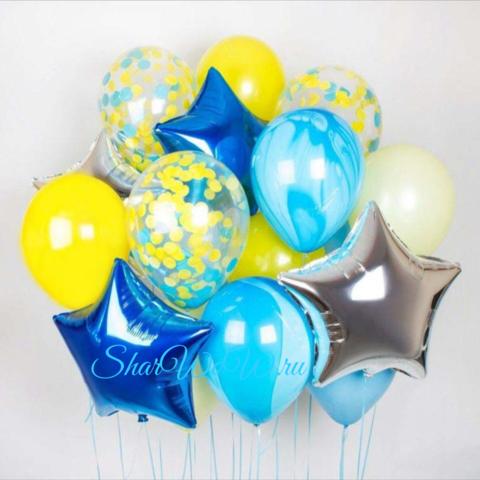 Сет воздушных шаров яркий голубой жёлтый