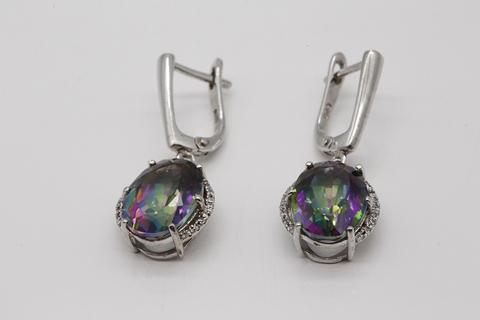 Серебряные серьги висячие с мистик аметистом 2405937225