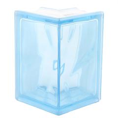 Угловой стеклоблок голубой окраска в массе Vitrablok 19x13x13x8