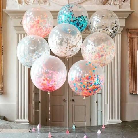 Метровые большие шары с конфетти