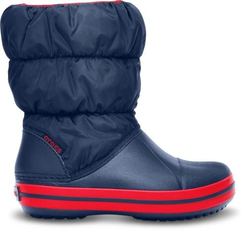 Зимние детские и подростковые сапожки Crocs Winter Puff Boot Kids Navy/Red