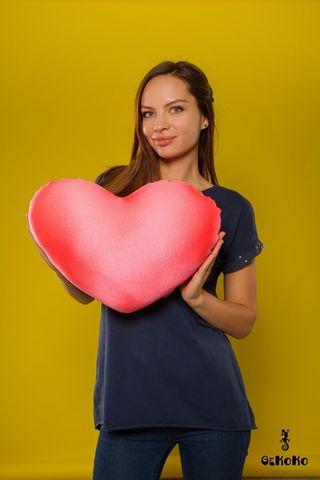 Подушка-игрушка «Большое розовое сердце»-2