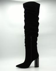 Ботфорты на высоком фактурном каблуке из натурального велюра