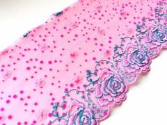Вышивка на сетке, 16 см, ярко-розовый и бирюза, правая сторона, м