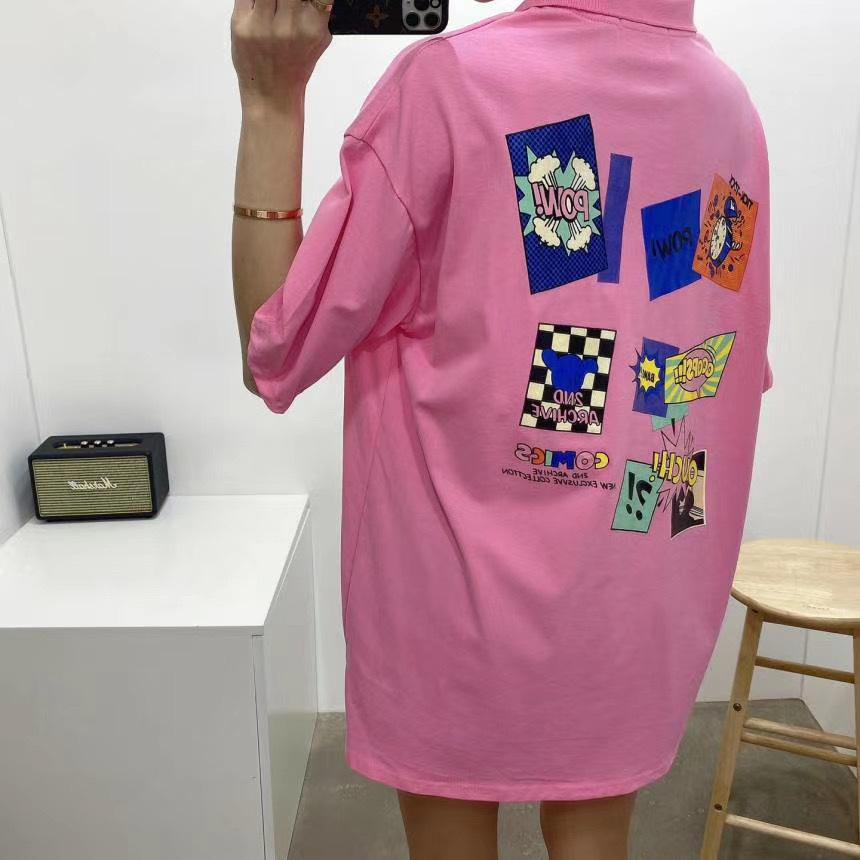 Рубашка поло с принтами, розовый