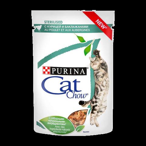 Cat Chow Sterilised Консервы для взрослых стерилизованных кошек с Курицей и баклажанами в соусе (Пауч)