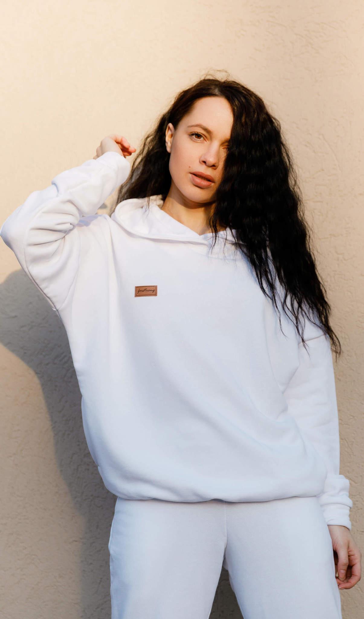 Белая сопртивная толстовка для девушки - Forstrong Basic Oversize