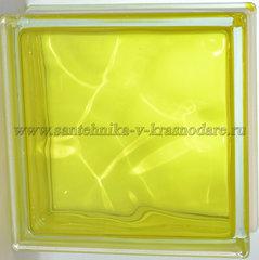 Стеклоблок желтый волна окрашенный изнутри Vitrablok 19x19x8