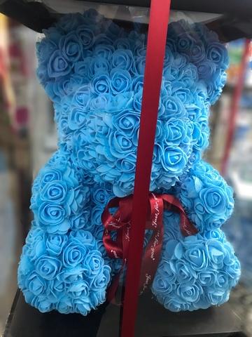 Мишка из роз 40 см в подарочной коробке #4529