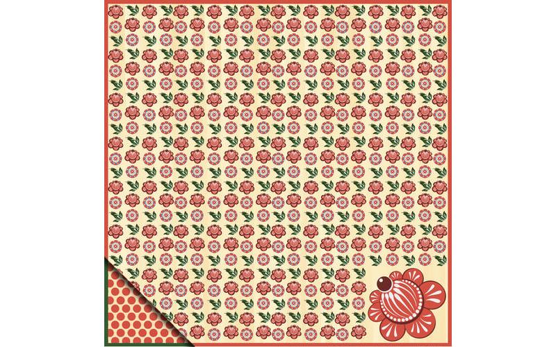Бумага для скрапбукинга Городецкая роспись Цветы
