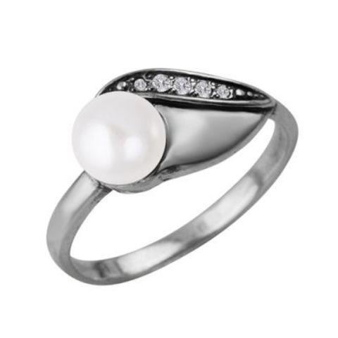 Кольцо с жемчугом и серебрением