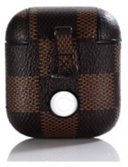Чехол на airpods темно-коричневый (шахматное поле) экокожа
