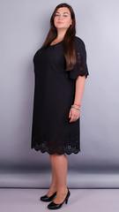Ажур. Красивое платье size plus. Черный.