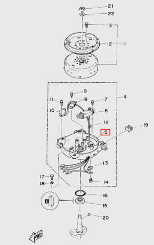 Корпус основания магнетто  для лодочного мотора T5 Sea-PRO (5-5)