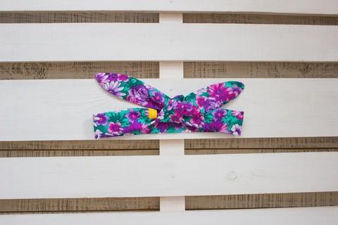 Повязка на голову (солоха) мятно-фиолетовая в цветах
