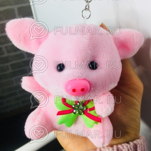 Поросёнок Коротышка брелок символ нового года 2019 цвет: Розовый (10х8 см)