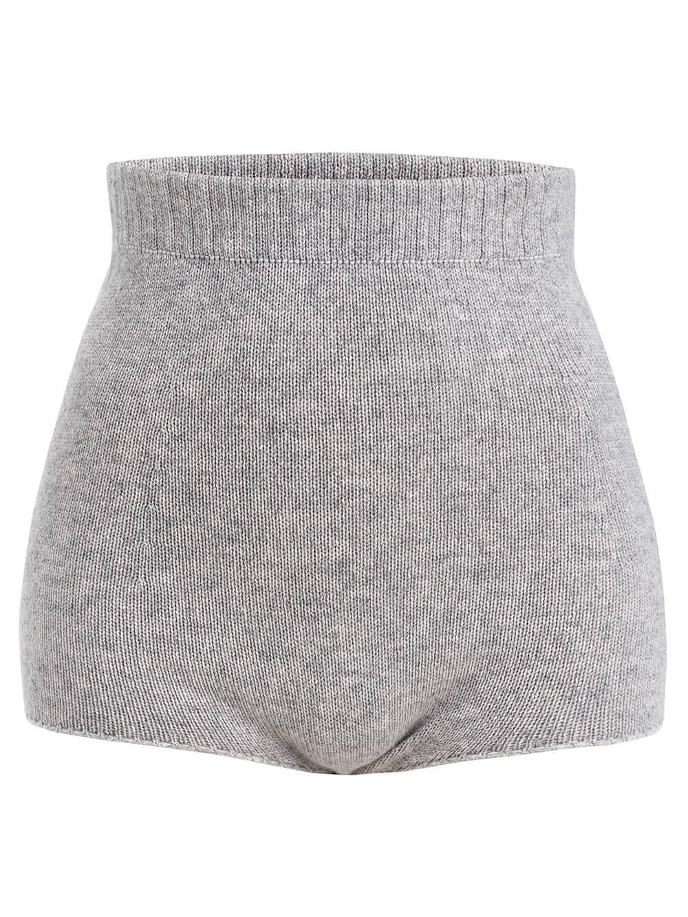 Женские шорты светло-серого цвета из 100% кашемира - фото 1
