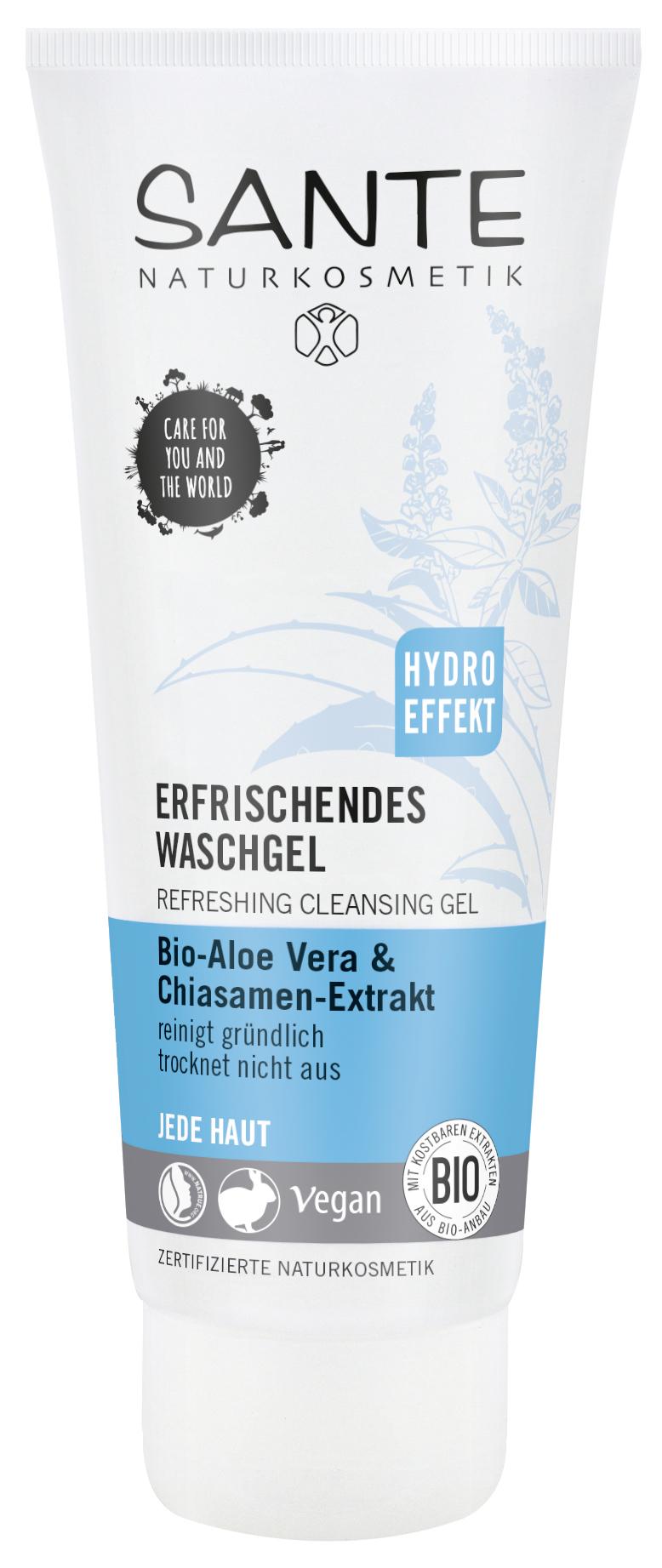 SANTE Освежающий очищающий гель для любого типа кожи с Био- Алоэ и Био экстрактом семян Чиа