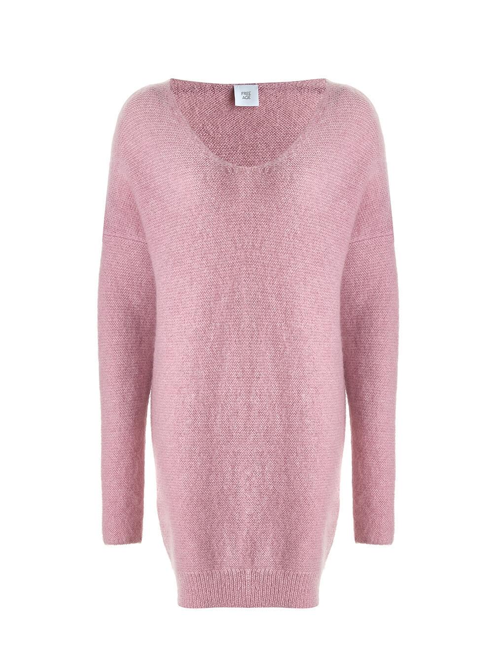 Женский удлиненный джемпер светло-розового цвета с V-образным вырезом - фото 1