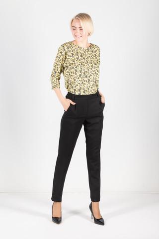Фото желтая блузка с растительными принтом и разрезами по бокам - Блуза Г661-391 (1)