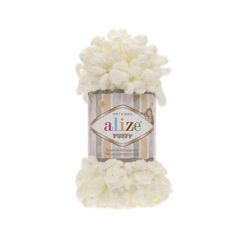 Купить Пряжа Alize Puffy Код цвета 062 Молочный | Интернет-магазин пряжи «Пряха»