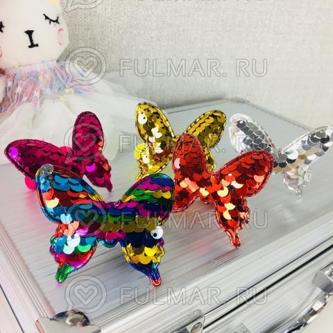 Набор резинки для волос Бабочки с двусторонними пайетками меняют цвет (6 штук)