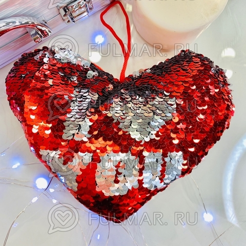Подушечка сердце с двусторонними пайетками меняет цвет I love you (21х16х4 см)