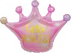 Шар (30''/76 см) Фигура, Корона, Маленькая Принцесса (искорки звезд), Розовый, Градиент, 1 шт.