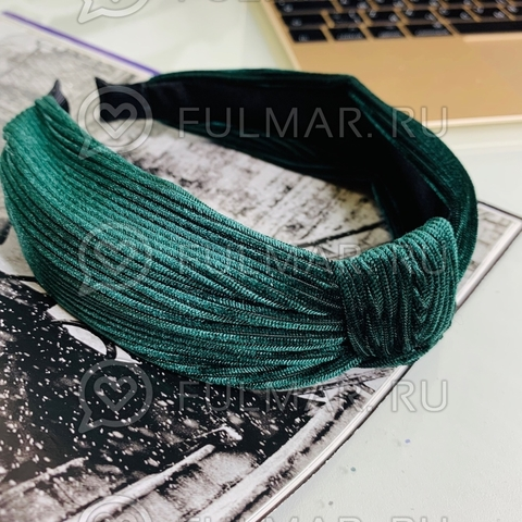 Ободок-чалма для волос (цвет: зеленый бутылочный)