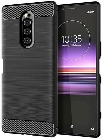 Чехол Sony Xperia 1 цвет Black (черный), серия Carbon, Caseport