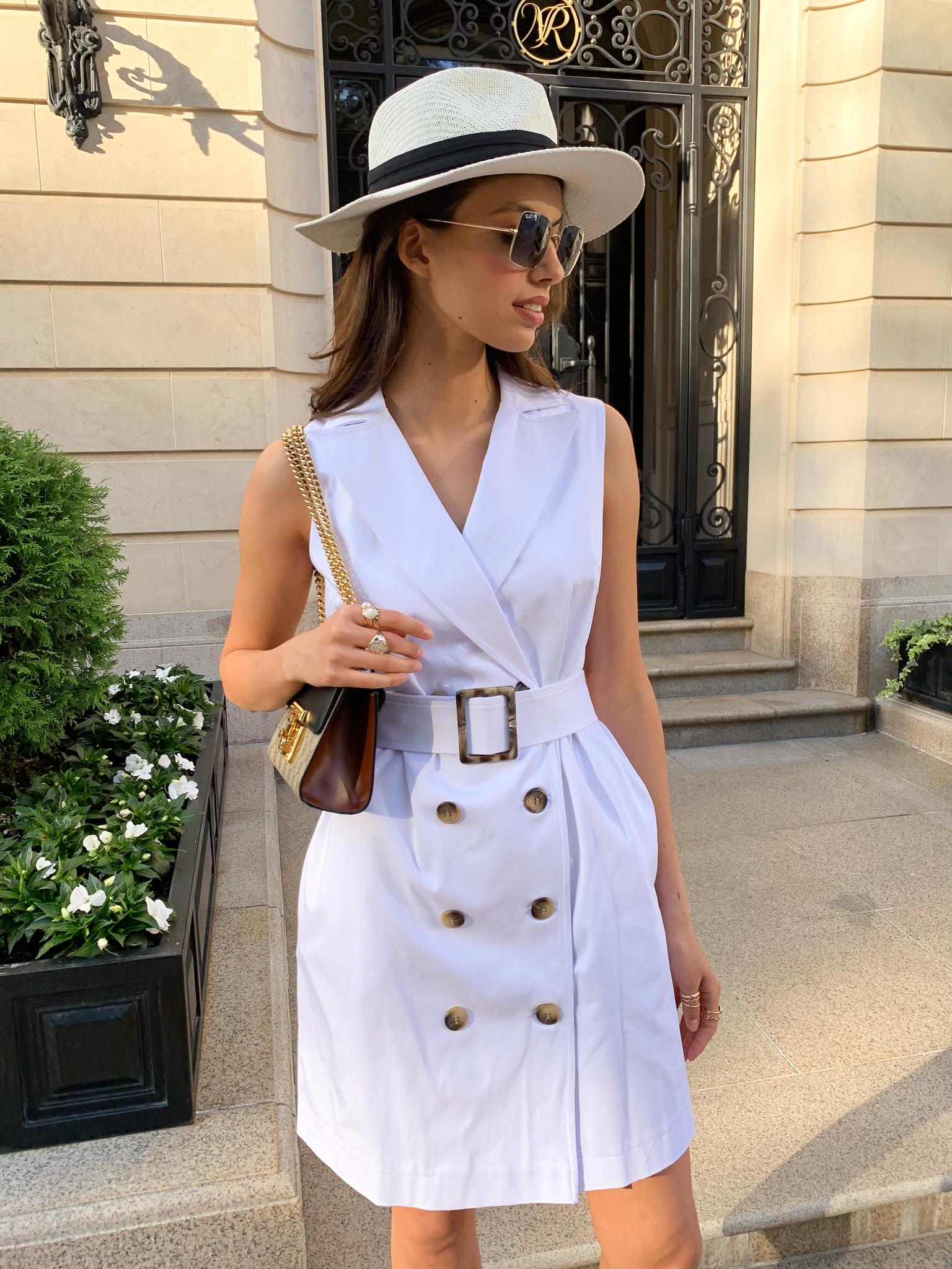 Платье-жилет сафари (белый)