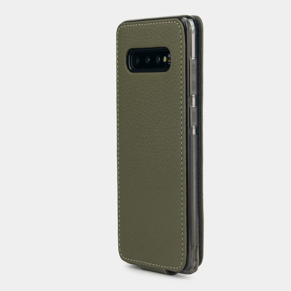 Чехол для Samsung Galaxy S10 Plus из натуральной кожи теленка, зеленого  цвета