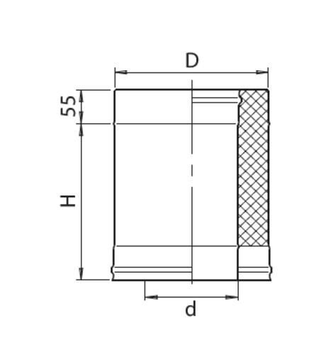 Сэндвич 0,25м (430/0,8мм + нерж.) Ф115х200