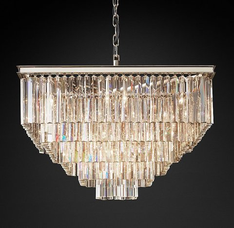 Подвесной светильник копия 1920S Odeon Clear Glass Fringe Square 5-Tier Chandelier by Restoration Hardware