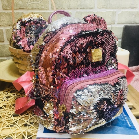 Рюкзак с пайетками и ушами Розовый-Серебристый меняющий цвет Звезда