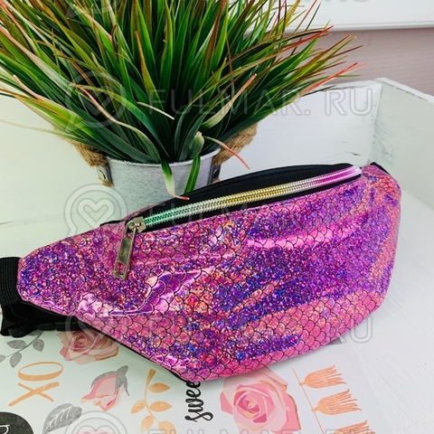 Блестящая поясная сумка летняя для девочки гладкая Русалочка Розовая