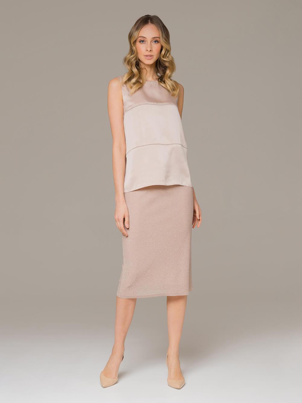 Женская юбка бежевого цвета - фото 1